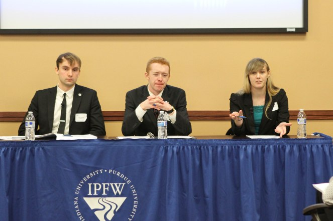 "Panel 1: ""Genocide, War, and Memory."" (left to right) Cody Fuelling, Seth Carpenter-Nichols, and Heather Dewey"