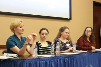 "Panel 4: ""Contested Identities in United States"": Fiona Sackett, Bre Anne Briskey, Hannah Smith, and Holly Holland"