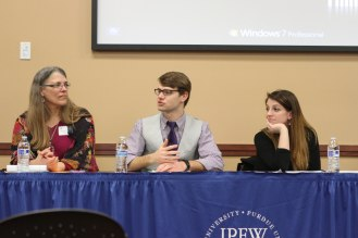 "Panel 5: ""The Perils of Politics: Social, Legal, and Philosophical Battles from Ancient Greece through Twentieth-Century America"": Christine Erickson (associate professor, history), Kyler Hudson, and Jessica Hale"