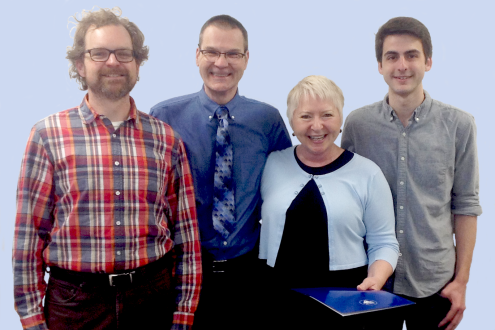 From left to right: Damian Fleming (associate professor, English), LaMaster, Ludwika Goodson (associate director of faculty development, CELT), and Caleb DeLieto (student representative on the LeePoxy committee)