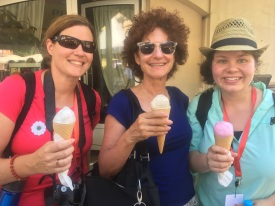 Menchhofer and her fellow marchers enjoy some hard-earned ice cream! (Left to right Allison Weller, Betsey Tirk Coleman, and Menchhofer)